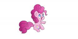Size: 1263x633 | Tagged: safe, artist:ukulelepineapplecat, pinkie pie, earth pony, pony, female, mare, simple background, smiling, solo, white background