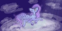 Size: 1263x633 | Tagged: safe, artist:ukulelepineapplecat, oc, pegasus, pony, cloud, female, looking up, lying down, mare, on a cloud, pegasus oc, prone, wings