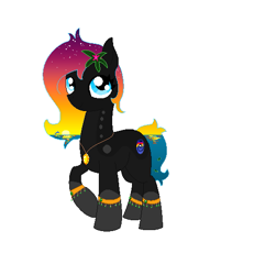 Size: 491x532   Tagged: safe, artist:joan-grace, oc, oc only, earth pony, pony, coat markings, earth pony oc, ethereal mane, flower, flower in hair, jewelry, necklace, raised hoof, socks (coat markings), solo, starry mane