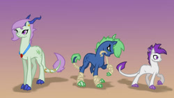 Size: 1190x671   Tagged: safe, artist:joan-grace, oc, oc only, dracony, dragon, hybrid, pony, abstract background, female, horns, interspecies offspring, jewelry, male, necklace, offspring, parent:rarity, parent:spike, parents:sparity, story included