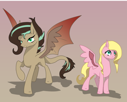 Size: 1997x1600   Tagged: safe, artist:joan-grace, oc, oc only, oc:lily, oc:mirage, bat pony, hybrid, pegasus, pony, bat pony oc, bat wings, female, interspecies offspring, mare, offspring, parent:discord, parent:fluttershy, parents:discoshy, pegasus oc, raised hoof, smiling, story included, wings
