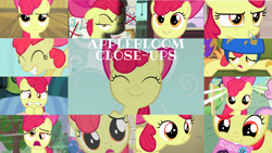 Size: 1280x721   Tagged: safe, edit, edited screencap, editor:quoterific, screencap, apple bloom, scootaloo, sweetie belle, earth pony, pegasus, pony, unicorn, call of the cutie, on your marks, one bad apple, the cutie pox, adorabloom, apple bloom's bow, bow, close-up, cute, duo, duo female, female, filly, hair bow, helmet, i want it now, nightmare, offscreen character, smiling, solo, sweat