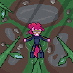 Size: 600x600 | Tagged: safe, artist:nitobit, part of a set, pinkie pie, earth pony, pony, falling, female, jumping, mare, micro, overhead view, pixel art, plant, puddle, rain, rock, shadow, smiling, solo, water, wetsuit