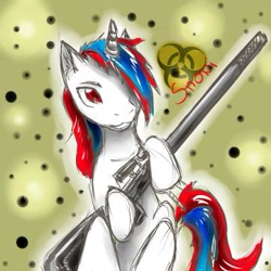 Size: 361x361 | Tagged: safe, artist:xsadi, oc, oc:snowi, pony, unicorn, fallout equestria, fallout equestria: project horizons, biohazard, biohazard sign, blue hair, fallout, fanfic art, female, horn, looking at you, mare, post-apocalyptic, red and blue, red eyes, red hair, weapon, white pony