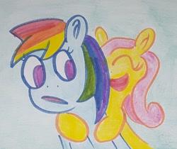 Size: 1278x1076   Tagged: safe, artist:dex stewart, fluttershy, rainbow dash, pegasus, pony, hug, hugging a pony, traditional art