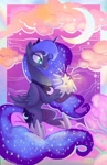 Size: 1324x2048 | Tagged: safe, artist:sophillia, princess luna, alicorn, pony, cloud, crescent moon, ethereal mane, female, heart, looking at something, mare, moon, print, solo, starry eyes, starry mane, stars, wingding eyes