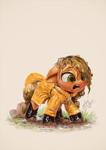 Size: 850x1200 | Tagged: safe, artist:assasinmonkey, applejack, earth pony, pony, adorable distress, cowboy hat, cute, female, filly, galoshes, hat, jackabetes, mud, open mouth, raincoat, wet, wet mane
