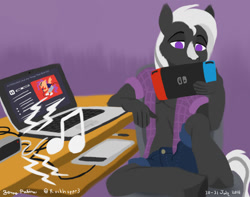 Size: 1024x805 | Tagged: safe, artist:rockhoppr3, scootaloo, oc, oc:ace hearts, earth pony, anthro, clothes, computer, desk, drawing tablet, laptop computer, lineless, nintendo switch, solo, speaker, unshorn fetlocks