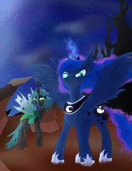 Size: 1637x2113 | Tagged: safe, artist:moonlightrift, princess luna, queen chrysalis, alicorn, changeling, angry, magic