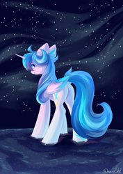 Size: 3000x4237 | Tagged: safe, artist:neonishe, oc, oc only, oc:neon star, alicorn, pony, alicorn oc, colored wings, cute, female, horn, looking back, mare, solo, stars, wings