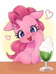 Size: 1200x1600 | Tagged: safe, artist:ayahana, pinkie pie, earth pony, pony, blushing, cherry, cute, diapinkes, female, floppy ears, food, heart, heart eyes, looking at you, milkshake, mouth hold, solo, wingding eyes
