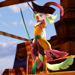 Size: 2049x2049 | Tagged: safe, artist:psfmer, captain celaeno, bird, parrot pirates, anthro, my little pony: the movie, 3d, clothes, dress, looking at you, pirate, ship, sky, solo, source filmmaker, standing, sword, weapon