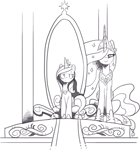 Size: 1209x1297 | Tagged: safe, artist:nauyaco, princess cadance, princess celestia, alicorn, pony, crown, duo, duo female, female, hoof shoes, jewelry, monochrome, regalia, sitting, throne