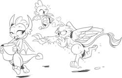 Size: 1938x1249   Tagged: safe, artist:nauyaco, gallus, smolder, spike, dragon, griffon, bipedal, bucket, cute, female, gallus is not amused, ice bucket challenge, laughing, male, monochrome, one eye closed, prank, running, smolderbetes, trio, unamused, wet, winged spike, wings