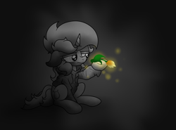 Size: 4165x3088 | Tagged: safe, artist:background basset, lyra heartstrings, pony, unicorn, fanfic:background pony, clothes, dig the swell hoodie, fanfic art, flower, gray background, hoodie, sad, simple background, sitting, solo, tulip