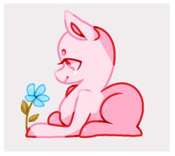 Size: 692x620 | Tagged: safe, artist:jadezy28, screencap, earth pony, pony, bald, base, bean brows, flower, lying down, prone, solo