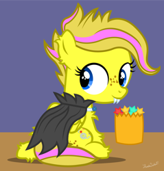 Size: 2000x2095 | Tagged: safe, oc, oc:mist dasher, vampire, alternate hairstyle, candy, candy bag, chest fluff, clothes, costume, ear fluff, fake fangs, female, filly, food, freckles, halloween, halloween costume, nightmare night, solo, vampire costume