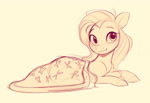 Size: 2340x1607 | Tagged: safe, artist:imalou, fluttershy, pegasus, blanket, blushing, cute, daaaaaaaaaaaw, female, looking at you, lying down, mare, monochrome, prone, shyabetes, simple background, sketch, smiling