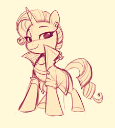 Size: 1517x1684 | Tagged: safe, artist:imalou, rarity, unicorn, alternate hairstyle, female, looking at you, mare, monochrome, simple background, sketch, smiling