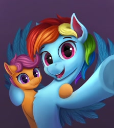 Size: 1018x1142 | Tagged: safe, artist:gouransion, rainbow dash, scootaloo, pegasus, pony, chest fluff, cute, cutealoo, dashabetes, duo, female, filly, mare, open mouth, scootalove, selfie, siblings, simple background, sisters