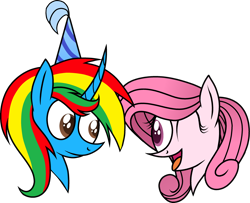 Size: 2940x2390   Tagged: safe, artist:muhammad yunus, oc, oc:annisa trihapsari, oc:shield wing, alicorn, earth pony, pony, birthday, duo, female, hat, male, mare, one eye closed, open mouth, open smile, party hat, simple background, smiling, stallion, transparent background, vector
