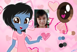 Size: 1449x984   Tagged: safe, artist:muhammad yunus, oc, oc:siti shafiyyah, human, equestria girls, amused, black hair, clothes, equestria girls-ified, female, happy, heart, heart eyes, ibispaint x, indonesia, irl, irl human, looking at you, medibang paint, open mouth, open smile, photo, smiling, smiling at you, wingding eyes
