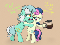 Size: 4082x3073 | Tagged: safe, artist:background basset, bon bon, lyra heartstrings, sweetie drops, earth pony, pony, unicorn, bipedal, bipedal leaning, coffee, duo, duo female, female, leaning, open mouth, simple background