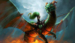 Size: 3292x1894   Tagged: safe, artist:darthagnan, oc, oc only, oc:duchess, dragon, earth pony, pony, armor, awesome, duo, female, helmet, lance, mare, metal as fuck, ponies riding dragons, riding, saddle, spear, spread wings, tack, weapon, wings