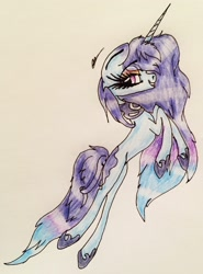 Size: 1957x2650 | Tagged: safe, artist:beamybutt, oc, oc only, pony, unicorn, eyelashes, female, hoof shoes, horn, mare, rearing, signature, smiling, solo, traditional art, unicorn oc