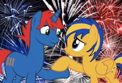 Size: 900x609 | Tagged: safe, artist:ry-bluepony1, oc, oc:flare spark, oc:train track, pegasus, unicorn, 4th of july, base used, fireworks, holding hooves, holiday, show accurate