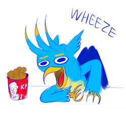 Size: 1280x1280 | Tagged: safe, artist:horsesplease, gallus, bird, chicken, griffon, bucket, cannibalism joke, carnivore, chicken meat, colored, food, fried chicken, gallus the rooster, kfc, laughing, meat, meme, stupid, wheeze