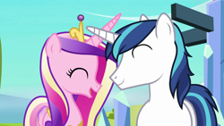 Size: 1280x720 | Tagged: safe, screencap, princess cadance, shining armor, alicorn, pony, unicorn, g4, season 6, the crystalling, ^^, crossed horns, crown, cute, cutedance, eyes closed, female, horn, horns are touching, jewelry, male, mare, open mouth, regalia, shining adorable, shiningcadance, shipping, smiling, stallion, straight