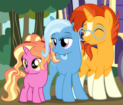 Size: 2574x2189 | Tagged: safe, artist:badumsquish, derpibooru exclusive, luster dawn, sunburst, trixie, pony, unicorn, beard, blaze (coat marking), coat markings, daughter, don't talk to me or my son ever again, eyes closed, facial hair, facial markings, family, father, father and child, father and daughter, female, filly, filly luster dawn, forest, glasses, horses doing horse things, lidded eyes, like father like daughter, like mother like daughter, like parent like child, luster dawn is trixie's and sunburst's daughter, luster dawn is trixie's daughter, male, mare, mother, mother and child, mother and daughter, parent and child, pigtails, ponified animal photo, shipping, show accurate, smug, socks (coat markings), straight, sunburst's glasses, taunting, teasing, tongue out, tree, trio, trixburst, trixie's wagon