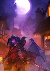 Size: 910x1300 | Tagged: safe, artist:atryl, oc, oc:dusk rhine, oc:midnight measure, bat pony, bird, raven (bird), vampire, anthro, bat pony oc, castle, cloak, clothes, fantasy, fantasy class, female, full moon, glowing eyes, hood, leather armor, male, mist, moon, night, rapier, rogue, scenery, sword, weapon