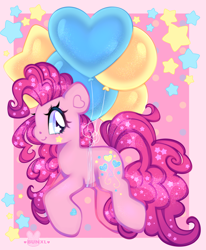 Size: 3300x4000   Tagged: safe, artist:bunxl, pinkie pie, earth pony, pony, balloon, cute, diapinkes, female, floating, happy, heart balloon, high res, mare, profile, smiling, solo, starry eyes, stars, then watch her balloons lift her up to the sky, wingding eyes