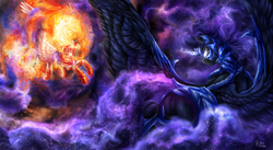 Size: 2000x1099 | Tagged: safe, artist:raychelrage, daybreaker, nightmare moon, alicorn, pony, duo, epic, ethereal mane, female, fight, galaxy mane, glowing eyes, glowing horn, horn, mane of fire, mare, signature, space, spread wings, wings