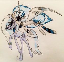Size: 2365x2285 | Tagged: safe, artist:beamybutt, oc, oc only, oc:moonbeam, alicorn, pegasus, pony, :p, alicorn oc, clothes, eyelashes, female, flying, horn, leg warmers, mare, pegasus oc, raised hoof, signature, spiked wristband, tongue out, traditional art, wings, wristband