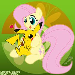 Size: 1234x1230 | Tagged: safe, artist:realkirrol, artist:zajice, fluttershy, pegasus, pikachu, pony, adorable face, crossover, cute, cutie mark, female, mare, open mouth, pokémon, pony x pokémon, sitting, smiling