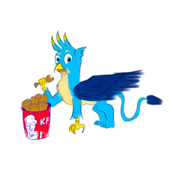 Size: 1280x1280 | Tagged: safe, artist:horsesplease, gallus, griffon, bucket, cannibalism joke, carnivore, chicken meat, eating, food, fried chicken, gallus the rooster, kfc, male, meat, mouth hold, simple background, solo, stupid, white background