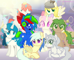 Size: 1014x827 | Tagged: safe, artist:memengla, oc, oc:memengla, alicorn, earth pony, pegasus, pony, unicorn