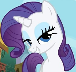 Size: 646x614 | Tagged: safe, screencap, rarity, pony, unicorn, season 1, the ticket master, bedroom eyes, female, mare, sexy, smiling