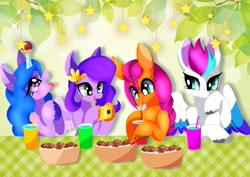 Size: 1525x1080   Tagged: safe, artist:stacy_165cut, izzy moonbow, pipp petals, sunny starscout, zipp storm, earth pony, pegasus, pony, unicorn, g5, my little pony: a new generation, adorapipp, adorazipp, chopsticks, cup, cute, digital art, drink, eating, female, green background, izzy impaling things, izzybetes, leaves, mare, simple background, smiling, stars, sunnybetes, table, takoyaki