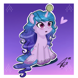 Size: 768x768 | Tagged: safe, artist:namieart, izzy moonbow, pony, unicorn, g5, abstract background, ball, blushing, cute, female, heart, horn, horn guard, horn impalement, hornball, izzy's tennis ball, izzybetes, open mouth, signature, sitting, solo, sparkles, tennis ball, unshorn fetlocks