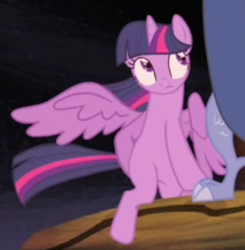 Size: 624x637 | Tagged: safe, screencap, twilight sparkle, alicorn, pony, three's a crowd, cropped, offscreen character, solo focus, spread wings, twilight sparkle (alicorn), wings