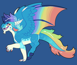 Size: 2600x2200 | Tagged: safe, artist:loryska, oc, dracony, dragon, hybrid, blue background, colored wings, hybrid wings, interspecies offspring, magical lesbian spawn, male, multicolored wings, offspring, parent:princess ember, parent:rainbow dash, parents:emberdash, rainbow wings, simple background, solo, wings