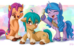 Size: 1280x805 | Tagged: safe, artist:uotapo, hitch trailblazer, izzy moonbow, sunny starscout, earth pony, pony, unicorn, g5, abstract background, blaze (coat marking), blushing, bracelet, braid, brush, cloven hooves, coat markings, crying, cute, cutie mark, dexterous hooves, eyelash curler, eyes closed, facial markings, female, feminization, floppy ears, hitchbetes, hoof fluff, izzybetes, jewelry, laughing, loose hair, makeup, male, mare, one eye closed, open mouth, pale belly, sash, sitting, socks (coat markings), stallion, sunnybetes, tears of laughter, toolbelt, trio, unshorn fetlocks