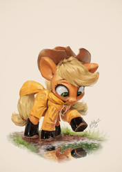 Size: 850x1200 | Tagged: safe, artist:assasinmonkey, applejack, earth pony, pony, boots, clothes, cowboy hat, cute, digital painting, female, galoshes, hat, jackabetes, mare, raincoat, shoes, silly, silly pony, smiling, solo, weapons-grade cute, who's a silly pony