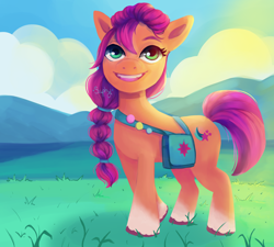 Size: 5004x4500   Tagged: safe, artist:saphypone, sunny starscout, earth pony, pony, g5, absurd resolution, bag, braid, cloud, coat markings, cute, female, grass, looking at you, mare, mountain, open mouth, signature, sky, socks (coat markings), solo, sunnybetes, unshorn fetlocks