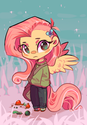 Size: 700x1000 | Tagged: safe, artist:duckjifs246, fluttershy, human, chibi, clothes, cute, female, humanized, looking at you, solo, sweater, tailed humanization, winged humanization, wings