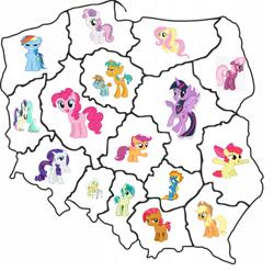 Size: 578x570 | Tagged: safe, artist:bebloteusz, apple bloom, applejack, babs seed, bon bon, cheerilee, fluttershy, granny smith, lyra heartstrings, pinkie pie, rainbow dash, rarity, sandbar, scootaloo, snails, snips, spitfire, sweetie belle, sweetie drops, twilight sparkle, alicorn, earth pony, pegasus, pony, unicorn, colt, cutie mark crusaders, dolnoslaskie, female, filly, kujawsko-pomorskie, lesbian, lubelskie, lubuskie, lyrabon, male, mane six, map, mare, mazowieckie, małopolska, opolskie, podkarpackie, podlaskie, poland, pomorskie, ponies as regions, shipping, stallion, twilight sparkle (alicorn), warmińsko-mazurskie, zachodniopomorskie, łódzkie, śląskie, świętokrzyskie